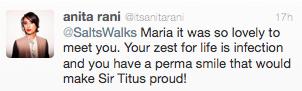 Anita Rani of Countryfile tweets to maria
