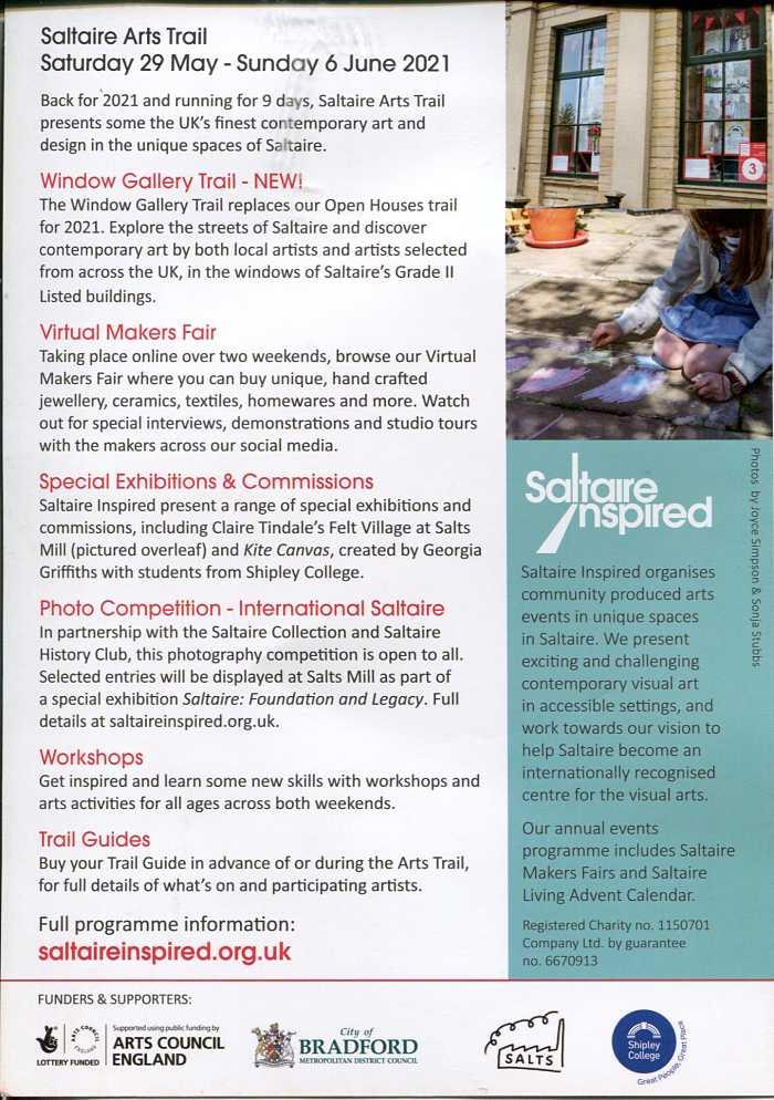 Saltaire Arts Trail 2021 Event Details Leaflet